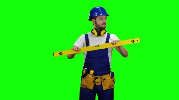 Thumbnail for Brigadier Measures the Angles with the Construction Level on Green Screen