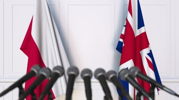 Thumbnail for Flags of Poland and the United Kingdom at International Press Conference