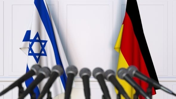 Thumbnail for Flags of Israel and Germany at International Press Conference