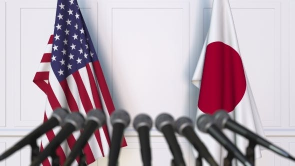 Thumbnail for Flags of the USA and Japan at International Press Conference