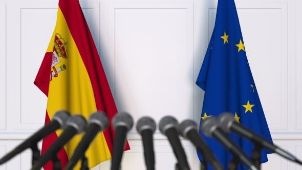 Thumbnail for Flags of Spain and the European Union at International Press Conference
