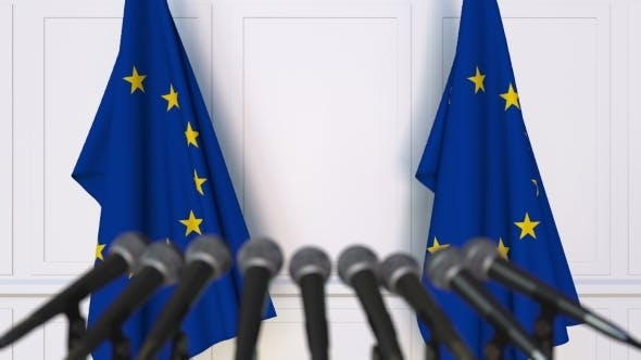 Cover Image for Official Press Conference Featuring Flags of the European Union EU