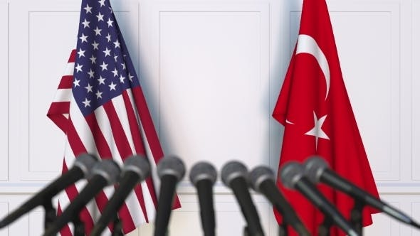 Thumbnail for Flags of the USA and Turkey at International Press Conference