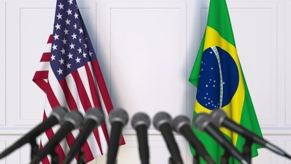 Thumbnail for Flags of the USA and Brazil at International Press Conference