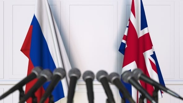 Thumbnail for Flags of Russia and The United Kingdom at International Press Conference