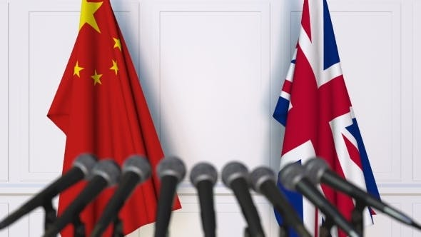 Thumbnail for Flags of China and The United Kingdom at International Press Conference