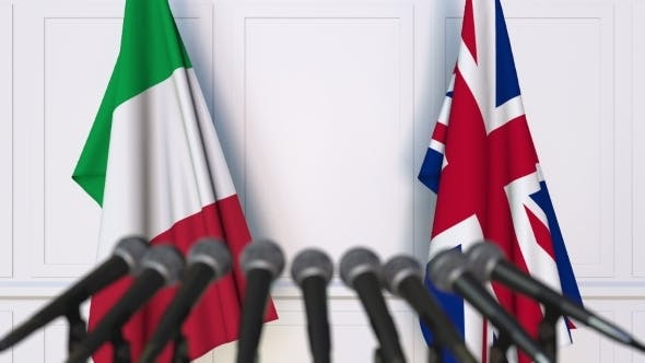 Thumbnail for Flags of Italy and The United Kingdom at International Press Conference