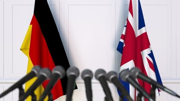 Thumbnail for Flags of Germany and The United Kingdom at International Press Conference