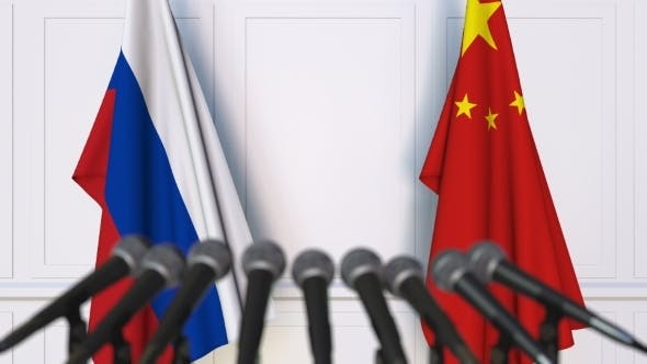 Thumbnail for Flags of Russia and China at International Press Conference