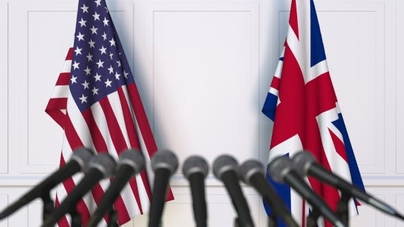 Thumbnail for Flags of the USA and The United Kingdom at International Press Conference