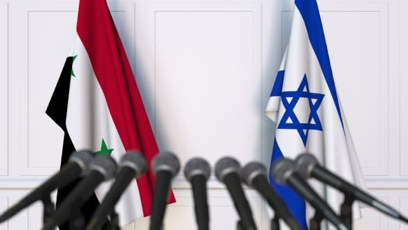 Thumbnail for Flags of Syria and Israel at International Press Conference