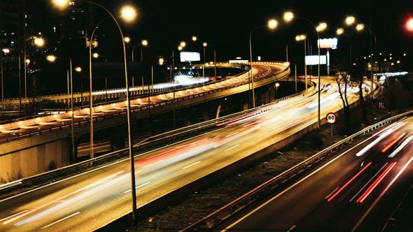 Highway Traffic Cars Driving at Multiple Lane Speedway