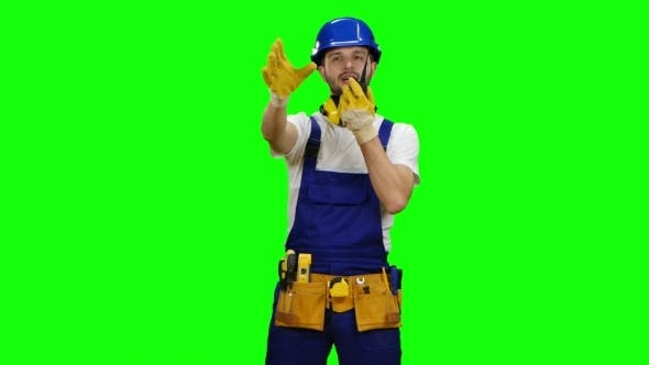 Thumbnail for Brigadier Speaks on the Walkie Talkie and Shows a Thumbs-up on Green Screen