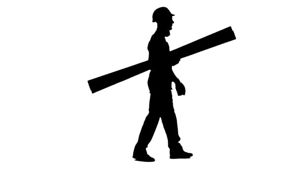 Thumbnail for Silhouette of Builder in a Helmet Goes to Work with Wooden Boards in His Hands on White Background