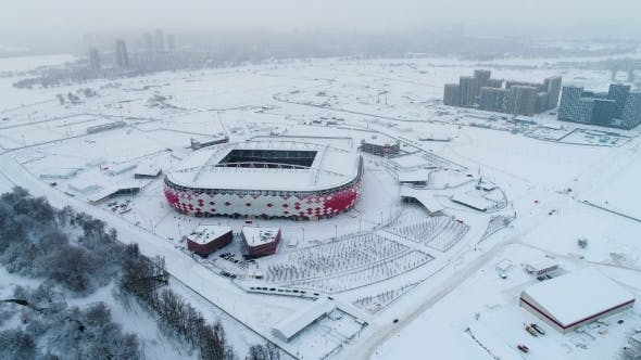 Aerial View of a Freeway Intersection on Snow-covered Moscow