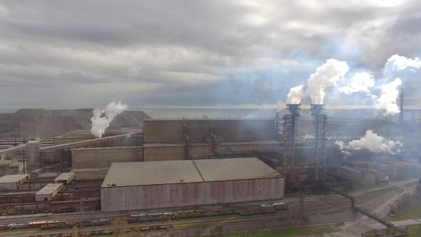 Thumbnail for Aerial View of Industrial Steel Plant Aerial Sleel Factory Flying Over Smoke Steel Plant Pipes