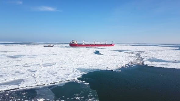 Thumbnail for Aerial View. The Ship Sails Through the Sea Ice in the Winter