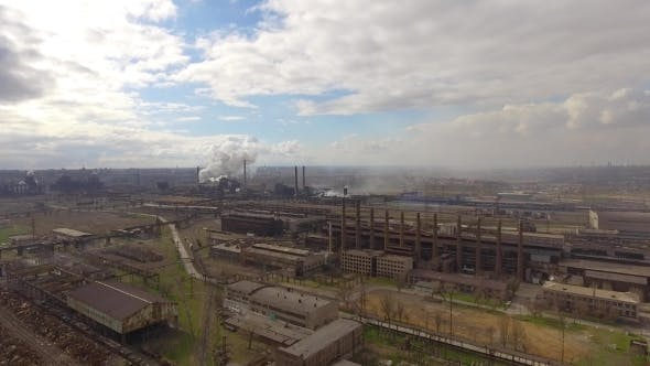 Thumbnail for Aerial View of Industrial Steel Plant. Flying Over Smoke Steel Plant Pipes