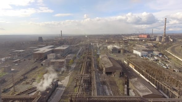 Thumbnail for Aerial View of Industrial Steel Plant. Aerial Sleel Factory. Flying Over Smoke Steel Plant Pipes