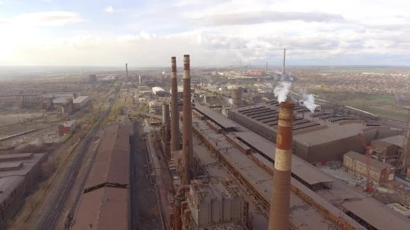 Thumbnail for Aerial View of Industrial Steel Plant. Aerial Sleel Factory