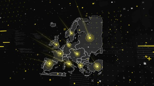 Thumbnail for Europe Map Global Connections  4K