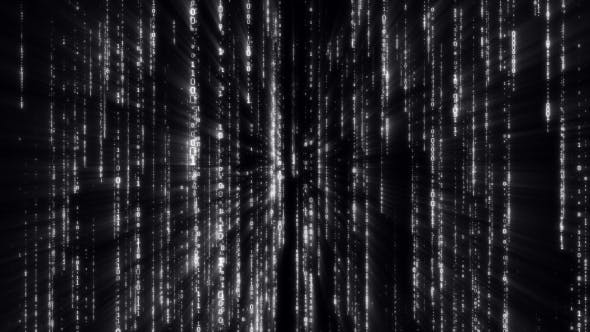 Thumbnail for Falling Binary Code in the Matrix Style in the Technological Space in Black Background