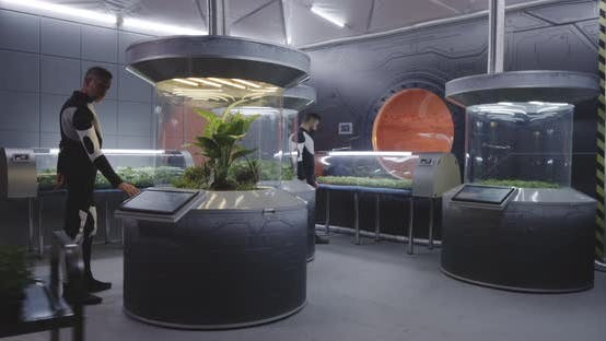 Astrobiologists Working with Plant Incubators