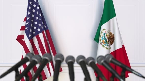 Thumbnail for Flags of the USA and Mexico at International Press Conference