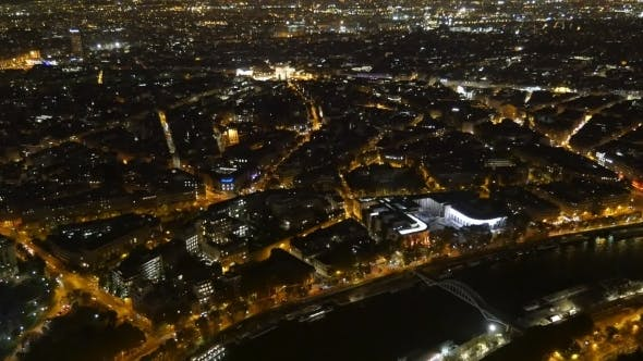 Thumbnail for Aerial of Paris at Night with Golden Embankments of the Seine in Autumn