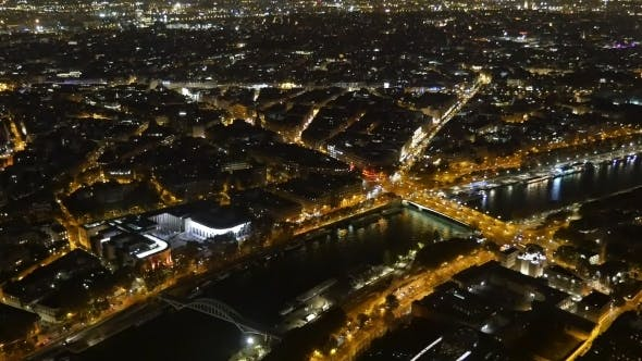 Thumbnail for Paris at Night From the Eiffel Tower Golden Embankments of the Seine Look Fine