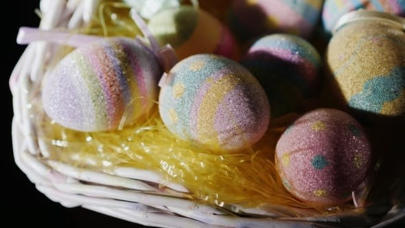 Thumbnail for Basket with Decorative Easter Eggs. Preparing for Easter