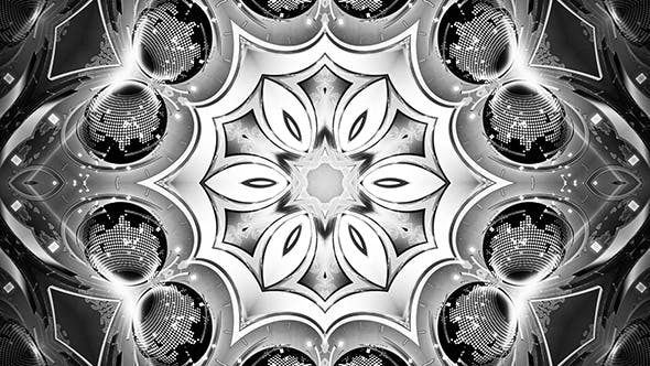Thumbnail for Black and White Lights Vj Shiny Kaleido