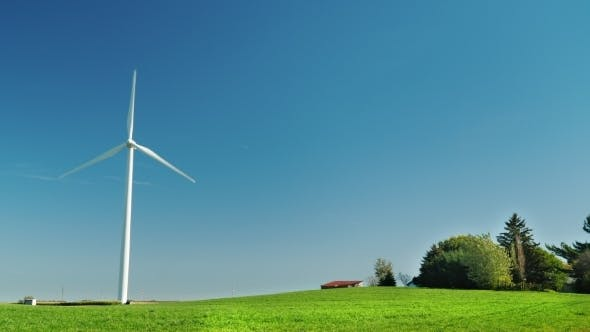 Thumbnail for One Industrial Wind Generator on a Green Meadow. Alternative Sources of Clean Energy