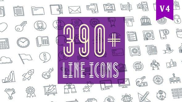 Ligne d'Icones Pack 390 icônes animées