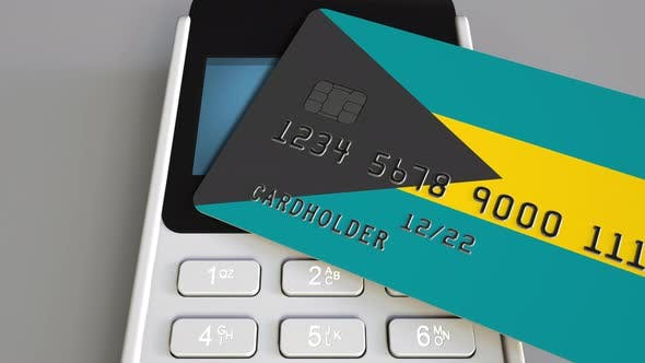 Thumbnail for Plastic Bank Card with Flag of Bahamas and POS Terminal