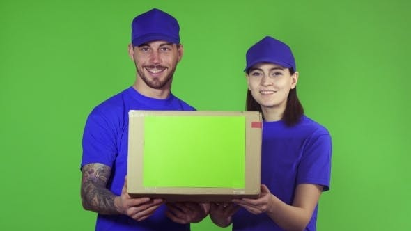 Thumbnail for Two Happy Professional Delivery Workers Holding Out Package Box To the Camera