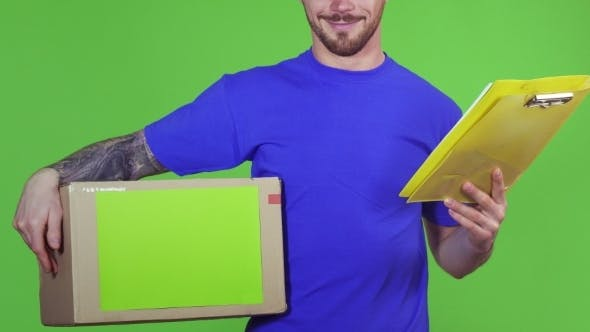 Thumbnail for Deliveryman Holding Copyspace Cardboard Box and Clipboard