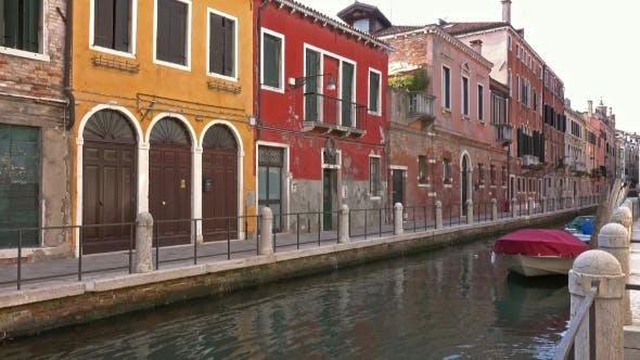 Thumbnail for Multi-colored Houses on Canal in Venice, Italy