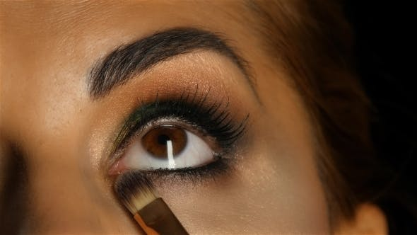 Thumbnail for Girl with Make Up Looking Up, Visagiste Brush Adjusts Her Make Up