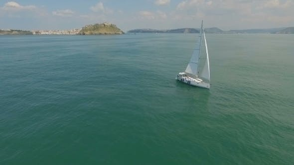 Thumbnail for Yacht Sailing on Open Sea at Sunny Day Yachting Yacht Video Yacht Drone Video Sailing Aerial