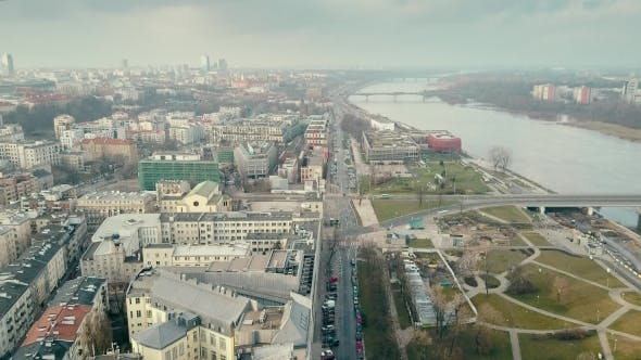 Thumbnail for Aerial of the Vistula River Embankment in Warsaw in Winter