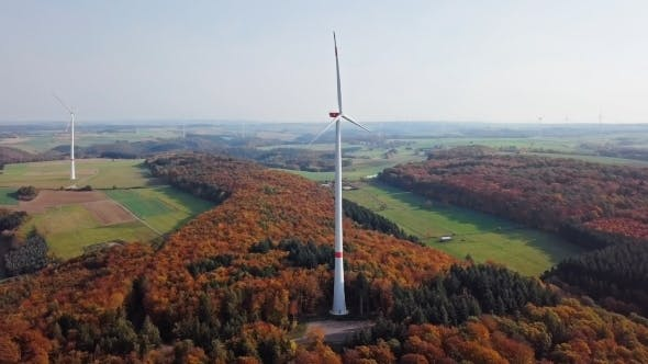 Thumbnail for Aerial View of Wind Turbines in Autumn Hillside