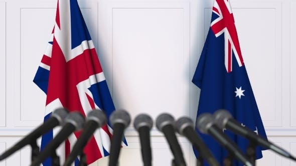 Thumbnail for Flags of the United Kingdom and Australia at International Press Conference