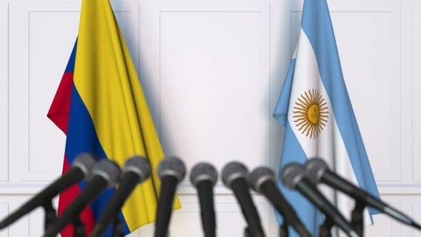 Thumbnail for Flags of Colombia and Argentina at International Press Conference