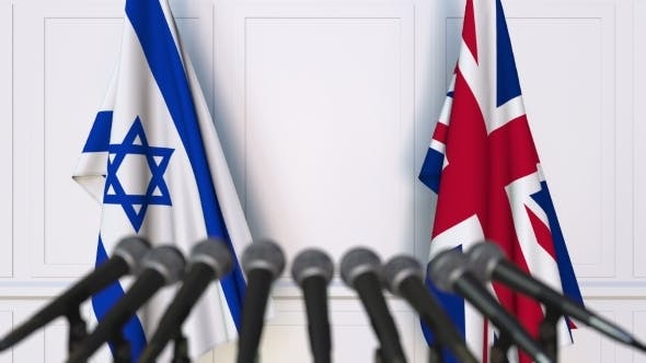 Thumbnail for Flags of Israel and The United Kingdom at International Press Conference