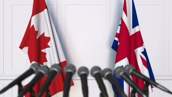 Thumbnail for Flags of Canada and The United Kingdom at International Press Conference