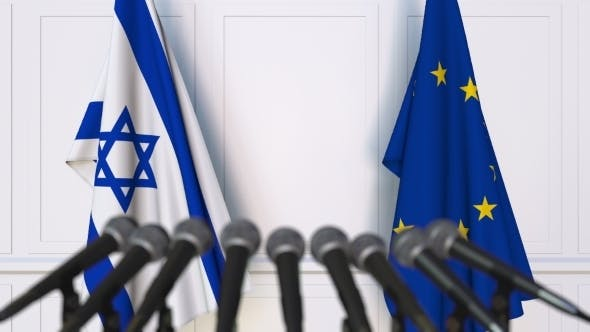 Thumbnail for Flags of Israel and the European Union at International Press Conference