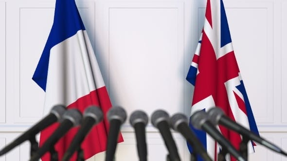 Thumbnail for Flags of France and The United Kingdom at International Press Conference