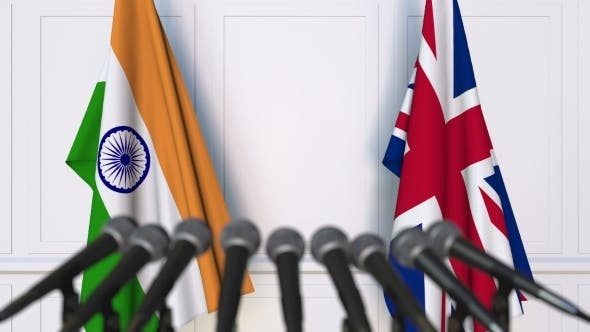 Thumbnail for Flags of India and The United Kingdom at International Press Conference