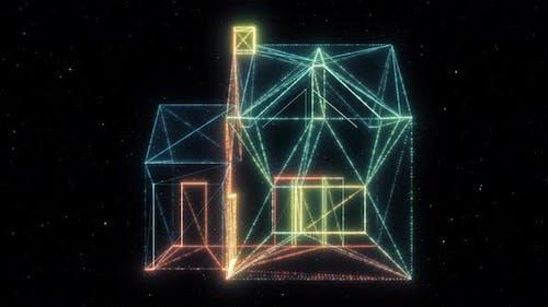 Minimal House Icon Hud Hologram 4k